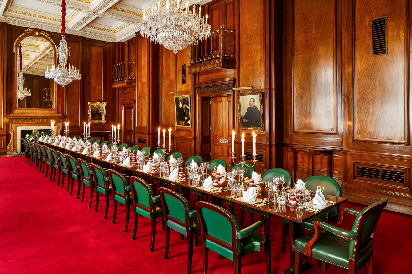 Court Dining Room set for a dinner