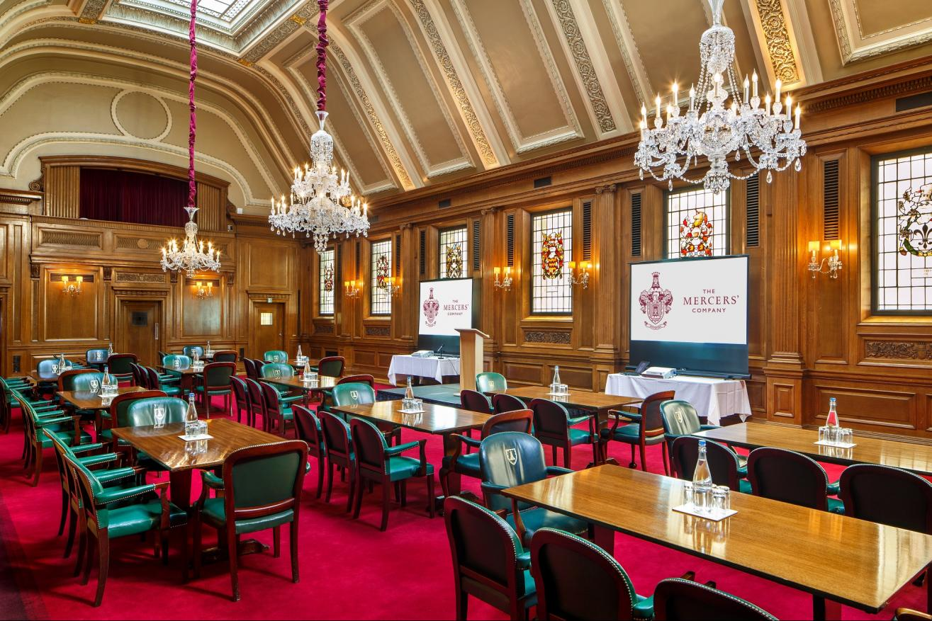 Livery Hall set for a conference cabaret style
